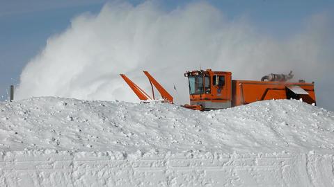 Snow blower behind deep drift P HD 6329 Footage
