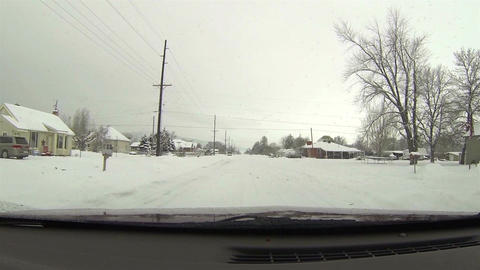 Snow bound rural town roads winter HD 044 Footage