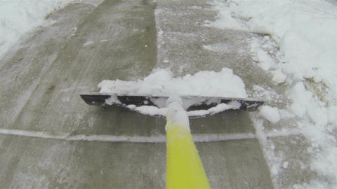 Snow removal from home sidewalk Point Of View HD 004 Footage