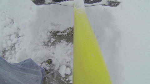 Snow shovel sidewalk fast Point of view HD 003 Live Action