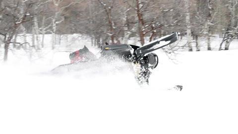 Snowmobile hard turn slow P HD 8293 Footage