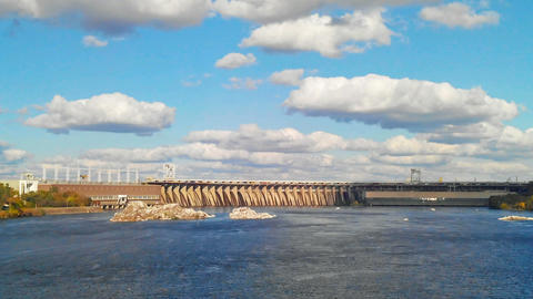Time Lapse of the Dnieper Hydroelectric Station Footage
