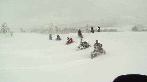 Snowmobiles group leaving for ride P HD 02 Footage