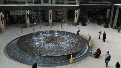 Splash water fountain luxury shopping mall fast timelapse HD 0253 Footage
