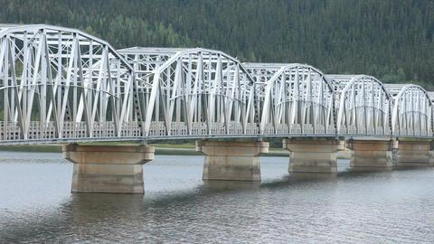 Steel bridge car crossing P HD 0120 Live Action