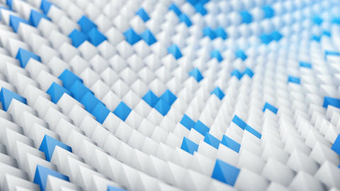 White and blue peaks waving. 3D render animation loopable Animation