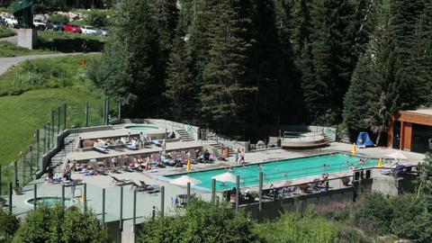 Swimming pool luxury mountain resort HD 8598 Footage
