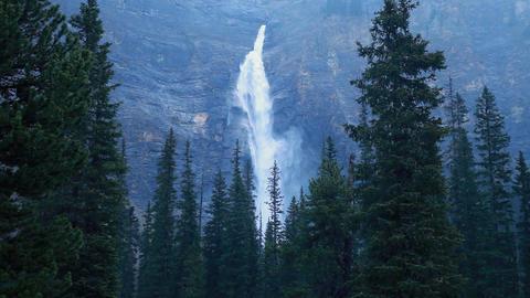 Takakkaw Falls in rain P HD 7397 Footage