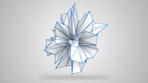 Abstract white shape rotating 3D render. Loop Animation