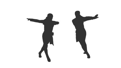 Silhouette of two men dancing national Caucasus dance, alpha channel Live Action