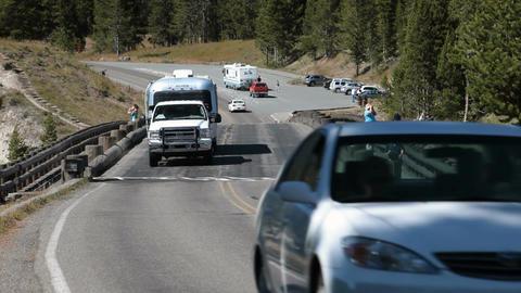 Traffic Fishing Bridge Yellowstone P HD 2322 Footage