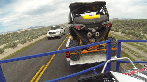 Travel towing off road recreation vehicles desert road POV HD 350 Footage