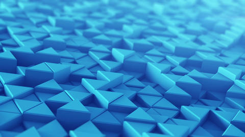 Blue extruded triangles techno animation 3D render loopable Animation
