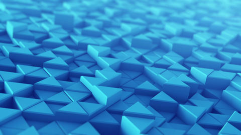 Blue extruded triangles techno animation 3D render loopable Stock Video Footage