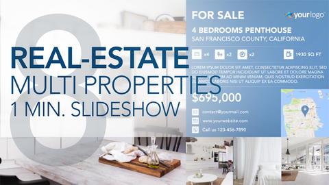 Real-Estate Multi Properties 1min Slideshow 8 - After Effects Template After Effects Template
