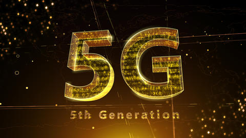5G Digital Network technology 5th generation mobile communication concept background 3 F1 red 4k Animation