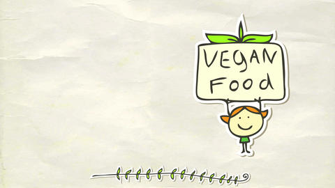 little girl with green dress manifesting in support of vegan food holding a sign over her head Animation