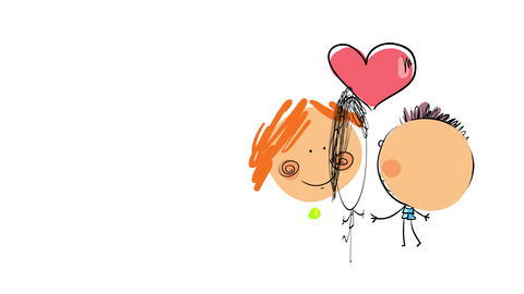 sweet drawing of a girl and a boy smiling and joyfully reaching each others arms with a big heart Animation