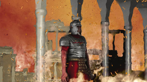 Ancient roman Soldier Standing and Watching Rome Burns Live Action