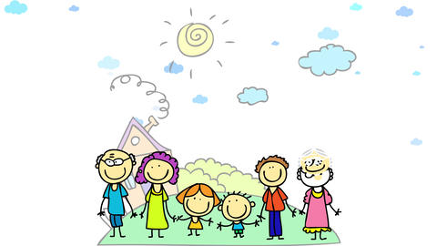 family of six including the grandparents looking for houses where they can live together on the calm Animation