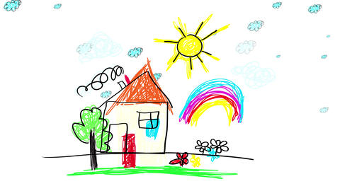 small cabin in the woods painted with crayons with a rainbow and the sun over it and clouds moving Animation