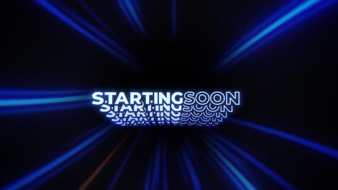 Animated STARTING SOON Message in Blue Lines Tunnel - Screen for Video Streaming Services Animation