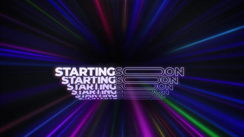 Animated STARTING SOON Message in Colorful Lines Tunnel - Screen for Video Streaming Services Animation