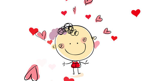 happy confident young man posing for a picture wearing an elegant red shirt with many small hearts Animation