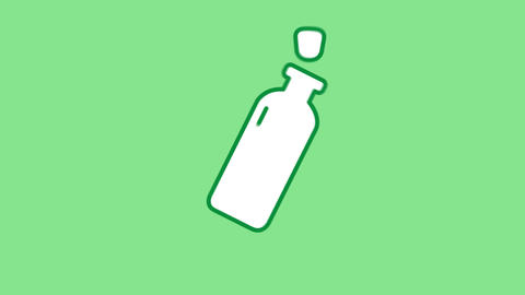Oil Bottle line icon on the Alpha Channel Animation