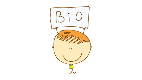 innocent young boy holding a sign above his head that reads bio suggesting he is in favor of Animation