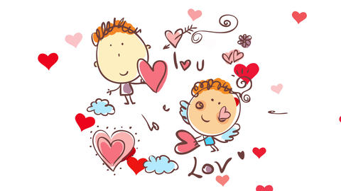 happy young man saying i love you to a loved one while cupid sends red hearts standing on a place Animation