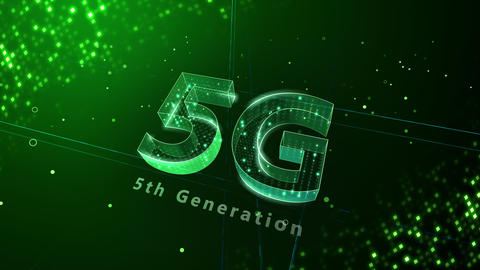 5G Digital Network technology 5th generation mobile communication concept background 3 N2 green 4k Animation