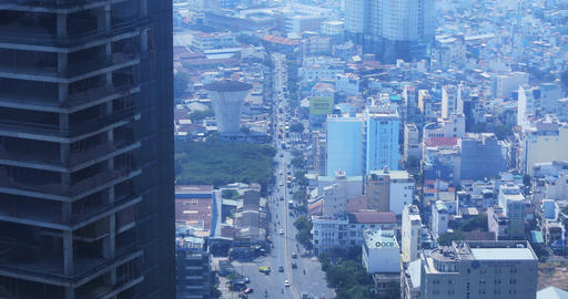 A high angle view of cityscape at the downtown in Ho Chi Minh daytime Live Action