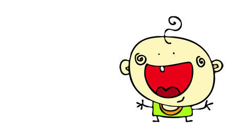 happy baby with big red mouth forming a smile opening his little arms with joyful expression Animation