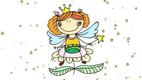 magical world of cute princess with wings and star wand sitting on top of a big flower with stars Animation
