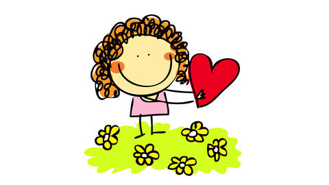 cute blond girl wearing pink dress on valentines day standing on a garden with small yellow flowers Animation