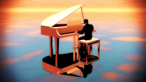 Man Playing Piano at Sunset - 3 Loopable Shots - Background Animation