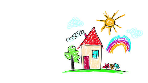 kids drawing of her dream house suggesting she likes sunny days and rainbows that she would like to Animation