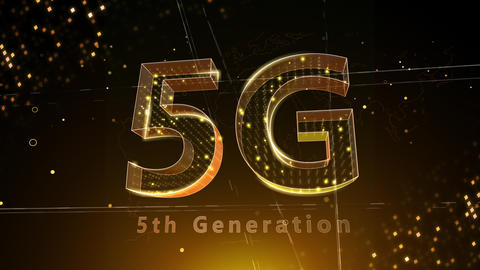 5G Digital Network technology 5th generation mobile communication concept background 3 F2 red 4k Animation