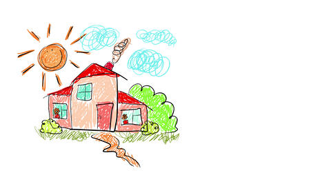 cute drawing of a mansion for a big family located on an upper middle class neighborhood suggesting Animation