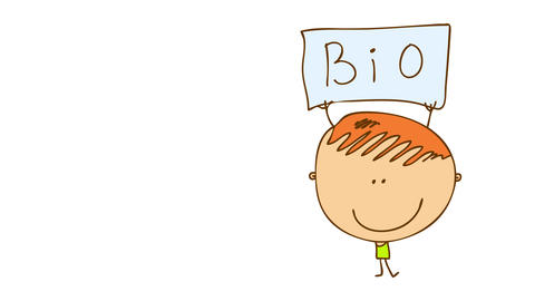 young man selling bioproducts outside on the street holding a poster to promote his new business and Animation