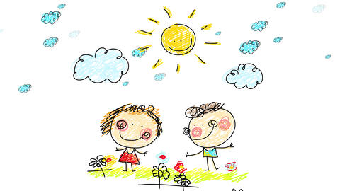 girl and boy with big smiles on their faces representing a play dancing between flowers over a Animation