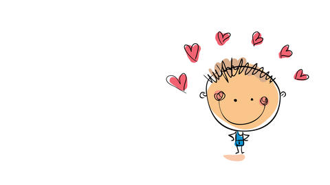 happy kid posing with attitude under an arch built above his head with cute pink hearts for an Animation