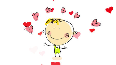 confident man keeping set of pink hearts in the air with small red ones floating on the background Animation