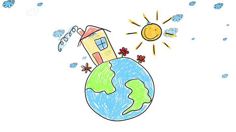 doodle of planet earth with a small house built on top with clouds moving behind it and the Animation