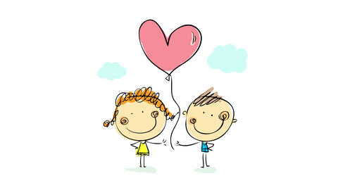 portrait of young happy couple holding the thread of a pink heart shaped balloon under a soft cloudy Animation
