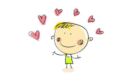 blond guy with cute innocent smile juggling with a bunch of pink hearts suggesting he need to make a Animation