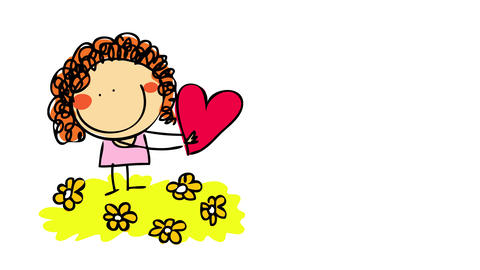 drawing of innocent young girl handing over a red heart isolated on left side of screen suggesting Animation