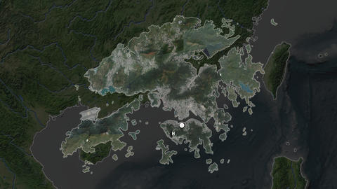 Hong Kong and capital circled and zoomed. Satellite Animation