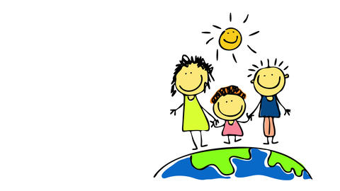 small family with little boy standing on the north pole of planet earth wearing summer clothes and Animation